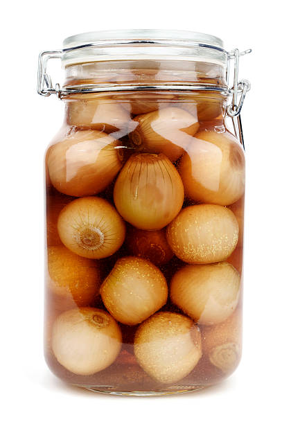 A jar of home made pickled onions nbsp